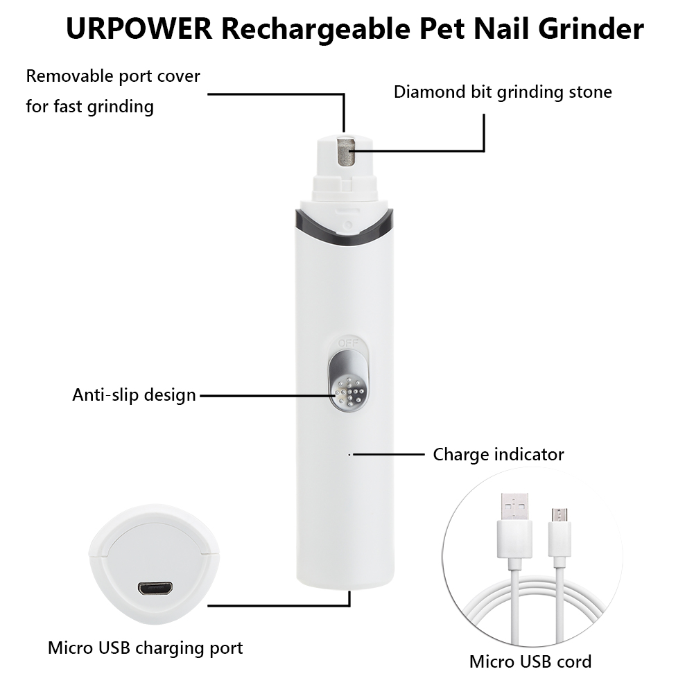 URPOWER Rechargeable Pet Nail Grinder