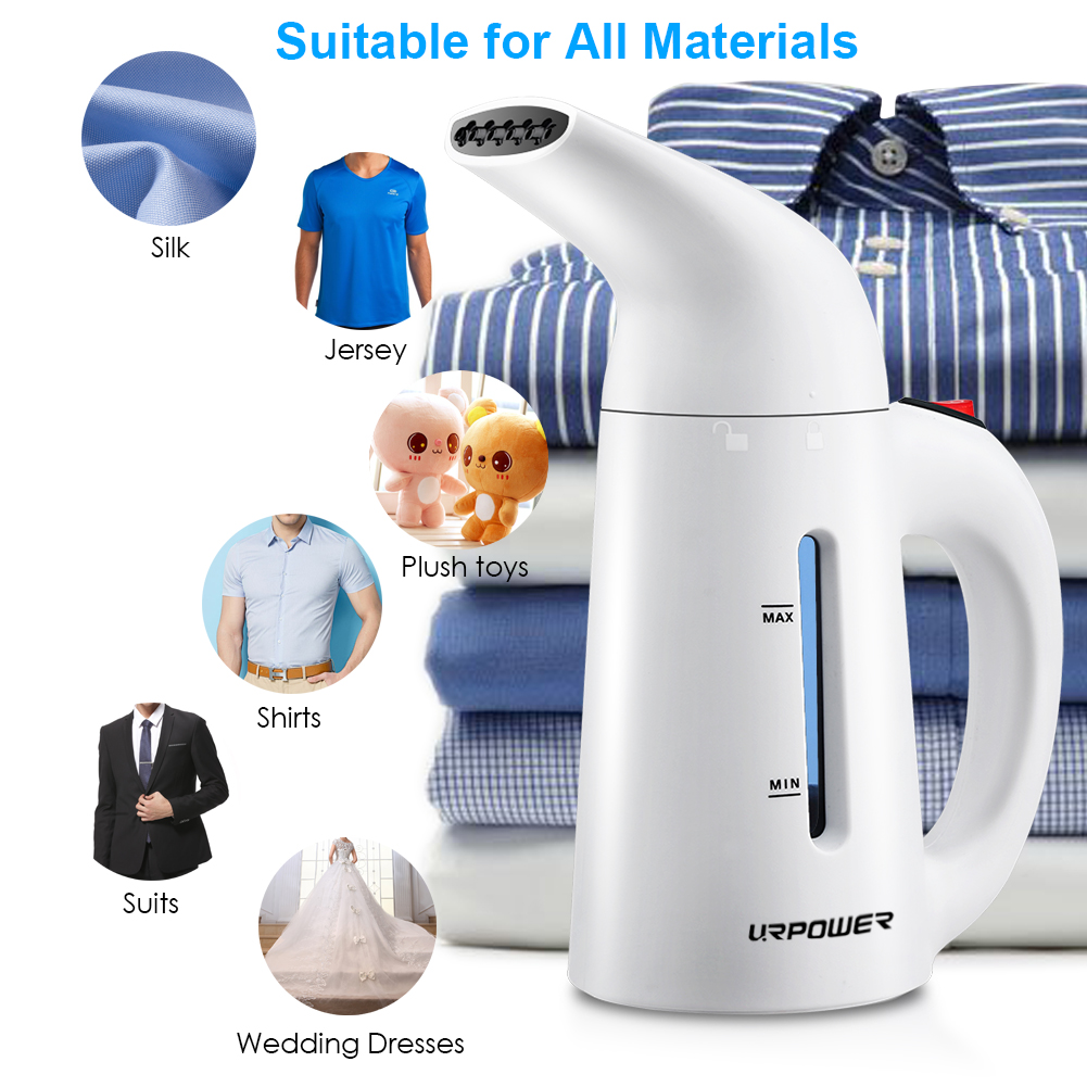 URPOWER Steamer for Clothes, Updated 180ml Fast-Heat Portable Travel Garment Steamer Travel Steamer Handheld Fabric Steamer Perfect for Home and Travel, Travel Pouch and Heat-resistant Glove Included