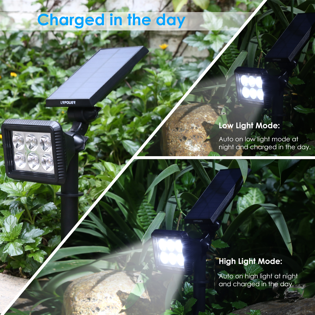 URPOWER Solar Lights Outdoor, Upgraded 2 Modes Solar Lights 2-in-1 Waterproof Solar Spotlight Auto On/Off Solar Wall Lights Pathway Lights Landscape Lighting for Yard Garden Pool- Cool White (4 Pack)
