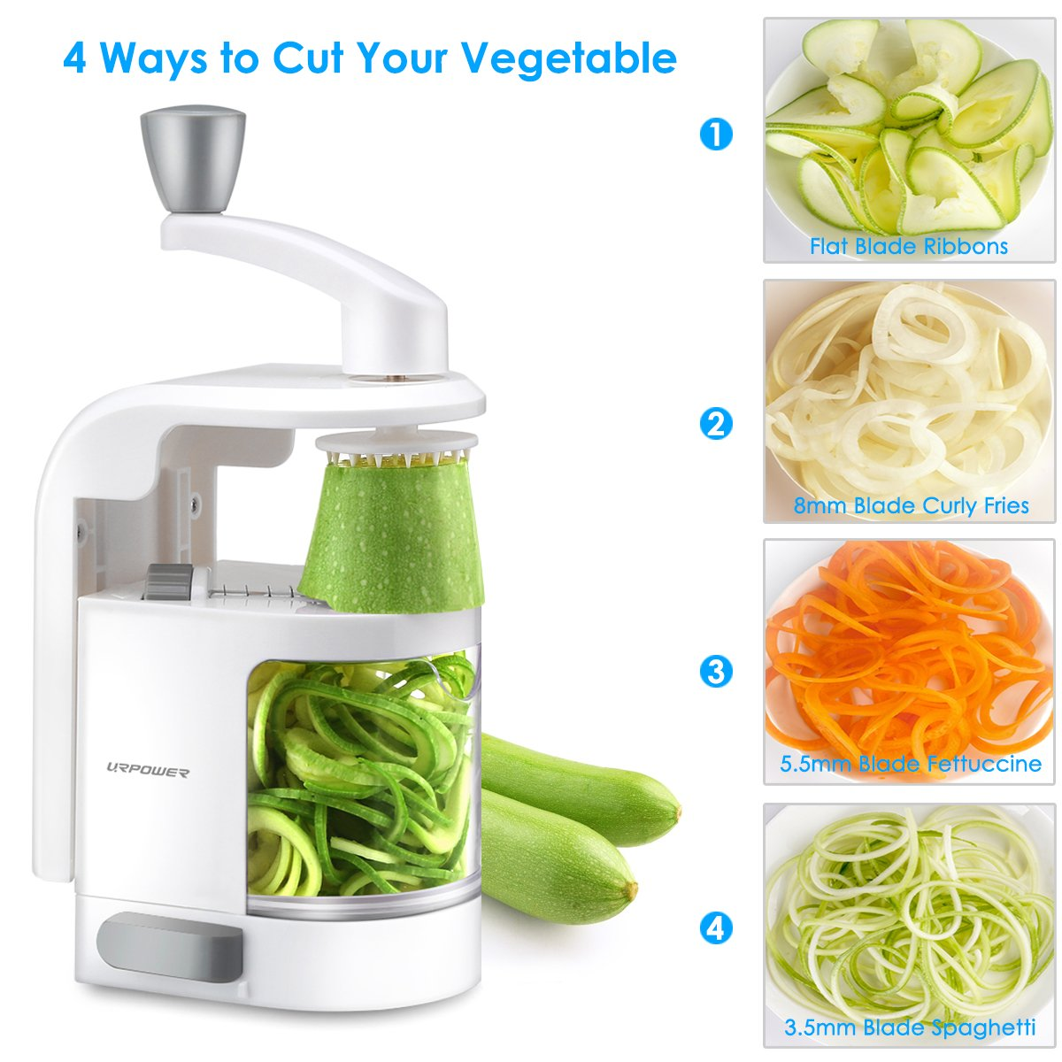 URPOWER Spiralizer Vegetable Slicer 4-Blade Vegetable Spiralizer, Veggie Pasta Spaghetti Maker, Perfect for Salad, Zucchini Noodles, Pasta and Cut Vegetables, Make Low Carb/Paleo/Gluten-Free Meals