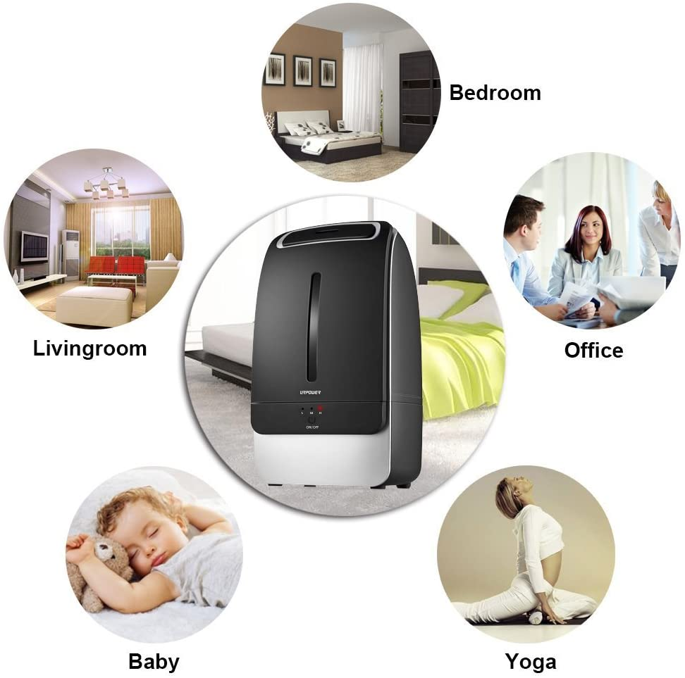 URPOWER 5L Humidifiers, Running 40+ Hours Ultrasonic Cool Mist Humidifier  Whisper-Quiet Humidifier for Bedroom Waterless Auto Shut-Off Baby Humidifiers for Nursery with Adjustable Mist Mode for Home