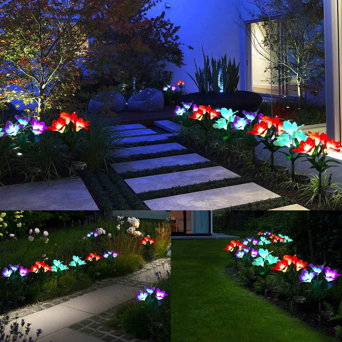 URPOWER Solar Lights Outdoor Solar Pathway Lights Waterproof Solar Garden Lights Auto ON/Off