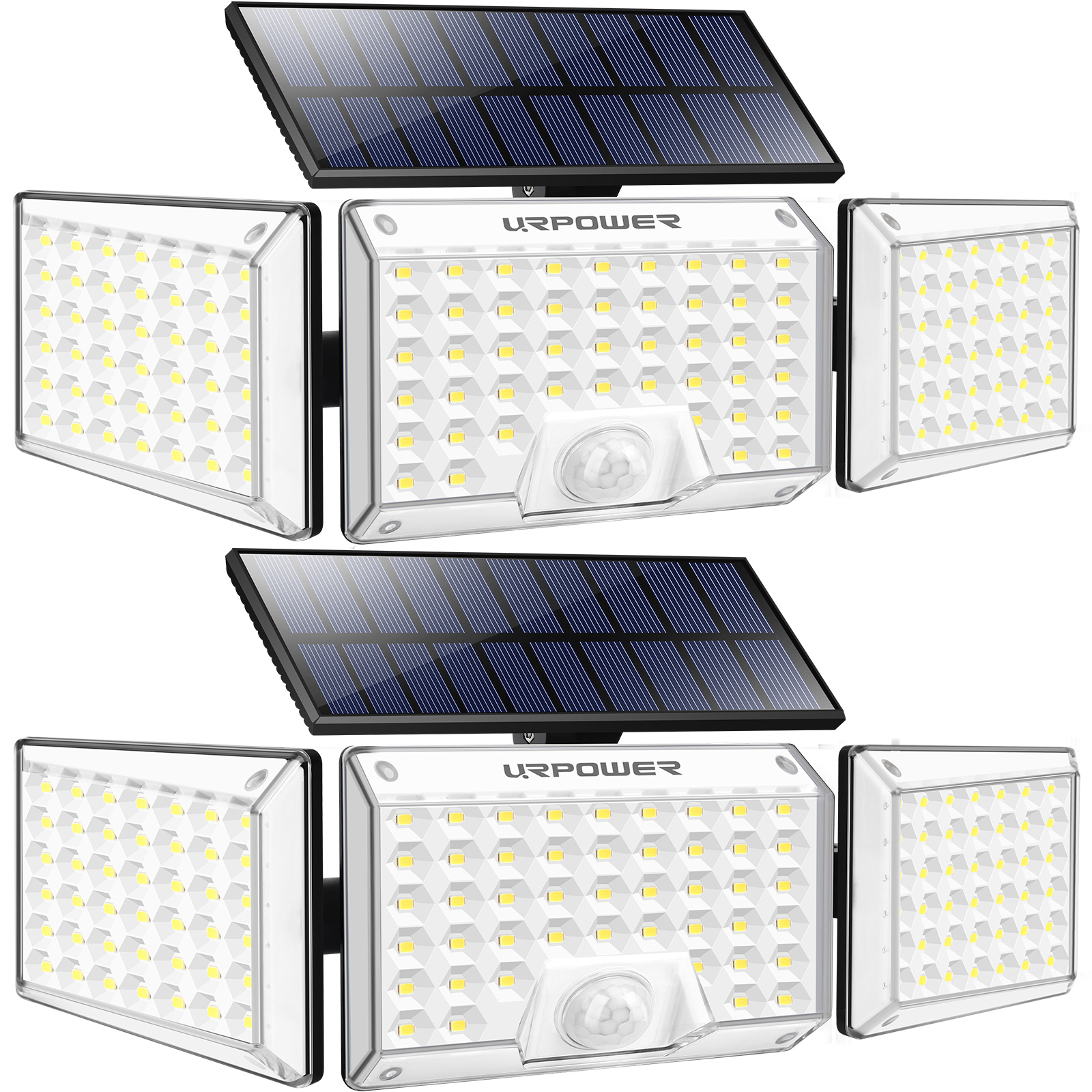 URPOWER 130 LED Solar Lights Outdoor, 1000LM 3-Head Adjustable Solar Motion Sensor Security Lights 2 Pack