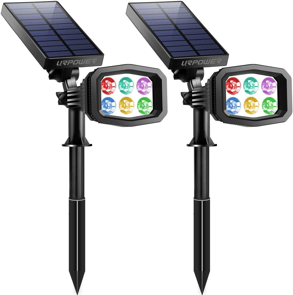 URPOWER Solar Lights Outdoor, Upgraded 2 Modes Solar Lights 2-in-1 Waterproof Solar Spotlight,Solar Wall Lights Pathway Lights Landscape Lighting (2 Pack) (Multi-Color)